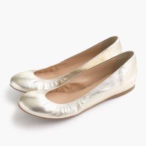 J Crew Women's Ballet Flat Cece Leather Platinum